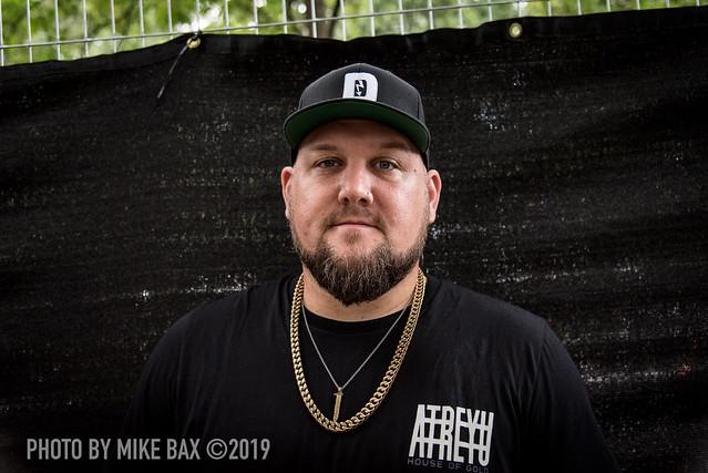 Atreyu drummer Brandon Saller at Heavy Montréal (Parc Jean-Drapeau (Montreal, Quebec) on July 28, 2019